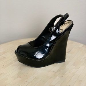 Shoes - Peep Toe Platform Wedges in black patent leather